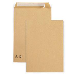 RAJA Pochette recyclée kraft brun format C4 - 229 x 324 mm 90g sans fenêtre - Bande autoadhésive - Brun