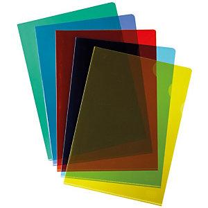 RAJA Pochettes coin A4 PVC 15/100 - couleurs assorties - Boîte de 100