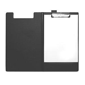 RAJA Porte-bloc avec rabat en polypropylène pour bloc jusqu'au format 21 x 32 cm - Noir