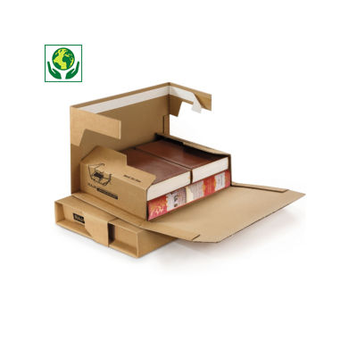 RAJA premium brown panel wrap book boxes with an adhesive strip