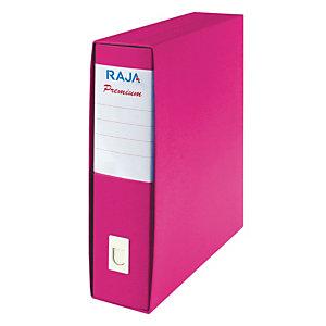 RAJA Registratore archivio Premium, Formato Commerciale, Dorso 8 cm, Cartone plastificato, Fucsia