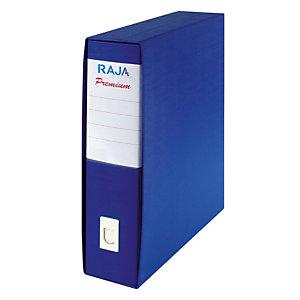 RAJA Registratore archivio Premium, Formato Protocollo, Dorso 8 cm, Cartone plastificato, Blu