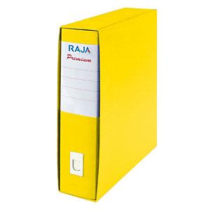 RAJA Registratore archivio Premium, Formato Protocollo, Dorso 8 cm, Cartone plastificato, Giallo Acido