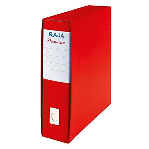 RAJA Registratore archivio Premium, Formato Protocollo, Dorso 8 cm, Cartone plastificato, Rosso