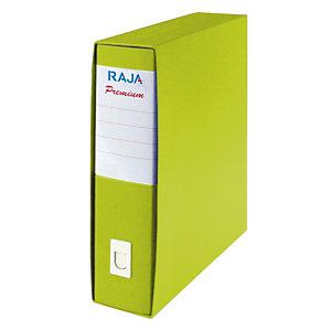 RAJA Registratore archivio Premium, Formato Protocollo, Dorso 8 cm, Cartone plastificato, Verde Acido