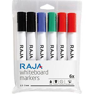 RAJA Remarx™ Rotulador de pizarra blanca, Tinta no permanente, Punta ojival de 1,5 a 3 mm, Colores variados