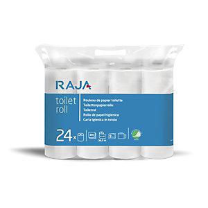 RAJA Rollo de papel higiénico estándar, 2 capas, 350 hojas, en relieve, 94mm, blanco