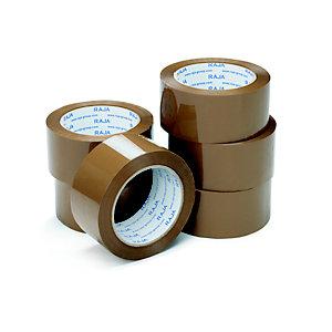 RAJA Ruban adhésif d'emballage résistant en polypropylène silencieux 35 microns 50 mm x 66 m - Havane