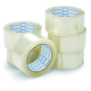 RAJA Ruban adhésif d'emballage résistant en polypropylène silencieux 35 microns 50 mm x 66 m - Transparent