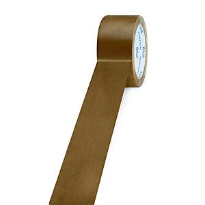 RAJA Ruban adhésif d'emballage résistant en PVC silencieux 32 microns 50 mm x 66 m - Havane