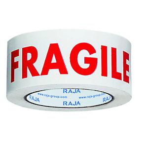 RAJA Ruban adhésif d'emballage silencieux imprimé ''Fragile'' en polypropylène silencieux 28 microns 50 mm x 100 m - Blanc texte rouge