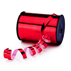 RAJA Ruban bolduc pour emballage cadeau - Bobine de 250 m x 1 cm  - Rouge effet miroir