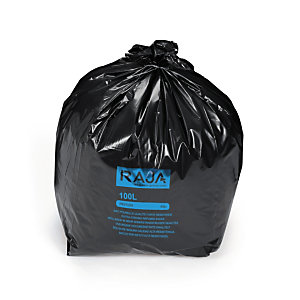 RAJA Sac poubelle 100 L noir pour déchets courants en plastique recyclé 45 microns diamètre 52,2 x H.95 cm