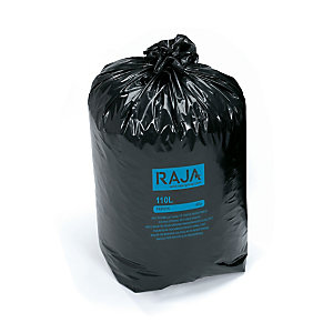 RAJA Sac poubelle 110 L noir pour déchets courants en plastique recyclé 45 microns diamètre 44,6 x H.110 cm