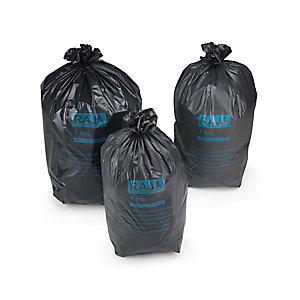 RAJA Sac poubelle 160 L noir pour déchets courants en plastique recyclé 55 microns diamètre 60,5 x H.130 cm