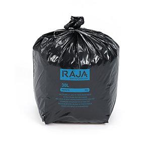 RAJA Sac poubelle 30 L noir pour déchets courants en plastique recyclé - 30 microns diamètre 31,8 x H.70 cm