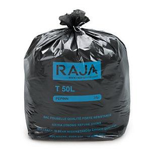 RAJA Sac poubelle 50 L noir pour déchets courants en plastique recyclé 35 microns diamètre 43,3 x H.80 cm