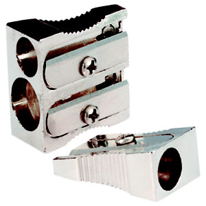 RAJA Sacapuntas en cuña, doble orificio, aluminio, 116 x 47 x 14 mm, Paquete de 10