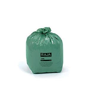 RAJA Sacs poubelle écologique 100% recyclé - 100 L Vert - 42 microns Diamètre 52.2 x H. 95 cm