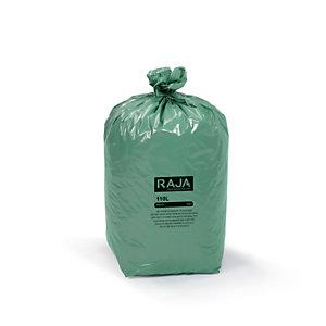 RAJA Sacs poubelle écologique 100% recyclé - 110 L Vert - 45 microns Diamètre 44.6 x H. 110 cm