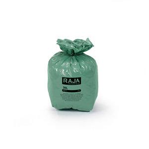 RAJA Sacs poubelle écologique 100% recyclé - 30 L Vert - 27 microns Diamètre 31.8 x H. 70 cm