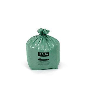 RAJA Sacs poubelle écologique 100% recyclé - 50 L Vert - 30 microns Diamètre 43.3 x H. 80 cm