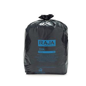 RAJA Sacs poubelle recyclés à usage intensif 130 L - 65 microns diamètre 52.2 x H.120 cm - Noir