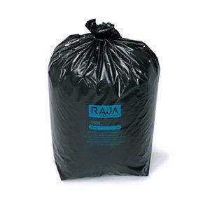 RAJA Sacs poubelle recyclés à usage intensif 160 L - 65 microns diamètre 60.5 x H.130 cm - Noir