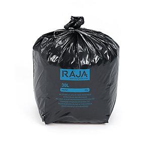RAJA Sacs poubelle recyclés à usage intensif 30 L - 40 microns diamètre 31.8 x H.70 cm - Noir