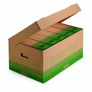 RAJA Scatola archivio cartone 100% riciclato e riciclabile onda singola, 52 x 35 x 25 cm, Avana/Verde (confezione 10 pezzi)
