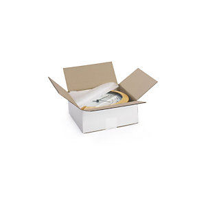 RAJA Scatola cartone onda singola, 29,5 x 19,5 x 15 cm, Bianco (confezione 25 pezzi)