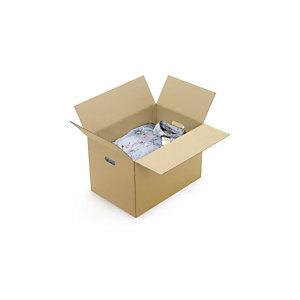RAJA Scatola con maniglie per archiviazione cartone doppia onda, 59 x 39 x 28 cm, Avana (confezione 10 pezzi)