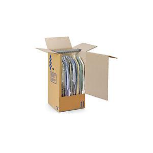 RAJA Scatola porta abiti cartone doppia onda, 50 x 50 x 135 cm, Avana (confezione 5 pezzi)