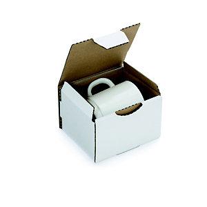 RAJA Scatola postale cartone onda singola, 12 x 10 x 8 cm, Chiusura ad incastro, Bianco (confezione 50 pezzi)