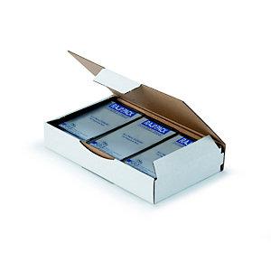 RAJA Scatola postale cartone onda singola, 15 x 10 x 5 cm, Chiusura ad incastro, Bianco (confezione 50 pezzi)