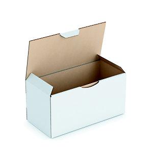 RAJA Scatola postale cartone onda singola, 20 x 10 x 10 cm, Chiusura ad incastro, Bianco (confezione 50 pezzi)