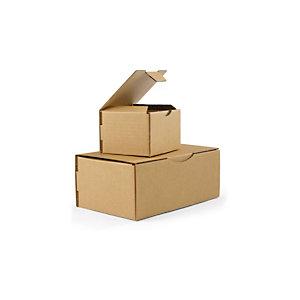 RAJA Scatola postale cartone onda singola, 21,5 x 15,5 x 10 cm, Chiusura ad incastro, Avana (confezione 50 pezzi)