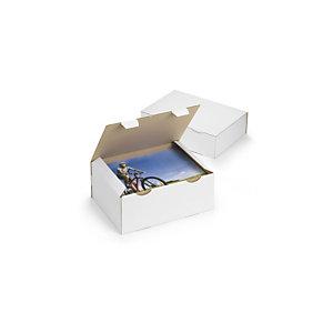 RAJA Scatola postale cartone onda singola, 25 x 15 x 10 cm, Chiusura ad incastro, Bianco (confezione 50 pezzi)