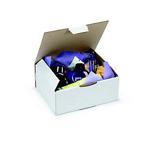 RAJA Scatola postale cartone onda singola, 25 x 20 x 10 cm, Chiusura ad incastro, Bianco (confezione 50 pezzi)