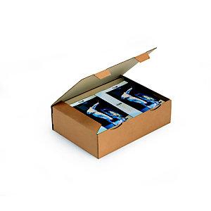 RAJA Scatola postale cartone onda singola, 43 x 30 x 12 cm, Cartone onda singola, Chiusura ad incastro, Avana (confezione 50 pezzi)