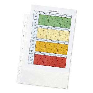RAJA Standard Plus Funda perforada, A4+, polipropileno de 80 micras, 11 orificios, rugosa, transparente