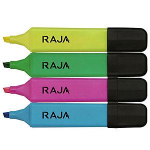 RAJA Surligneur pointe biseautée 1 et 5 mm - Coloris assortis - Pochette de 4