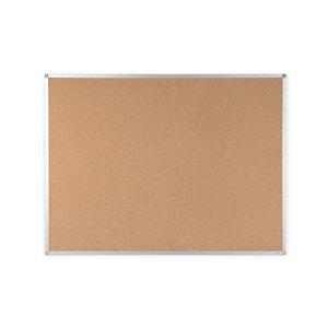 RAJA Tablón de corcho aglomerado, marco de aluminio, 1200 x 900 mm, marrón