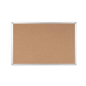 RAJA Tablón de corcho aglomerado, marco de aluminio, 1800 x 900 mm, marrón