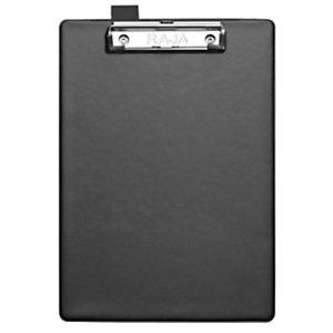 RAJA Tabla de pinza portapapeles, A4, cartón rígido forrado en PVC, negro