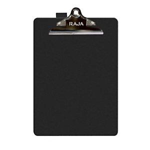 RAJA Tabla de pinza portapapeles, A4, soporte para bolígrafo, polipropileno, negro