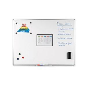 RAJA Tableau blanc magnétique effaçable à sec surface émailléé - 90 x 120 cm - cadre aluminium