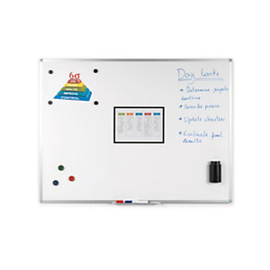 RAJA Tableau blanc magnétique effaçable à sec surface laquée - 90 x 120 cm - cadre aluminium