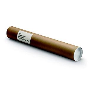 RAJA Tube d'expédition rond en carton spiralé brun avec capuchons blancs - Diam.int.4 x L.31 cm