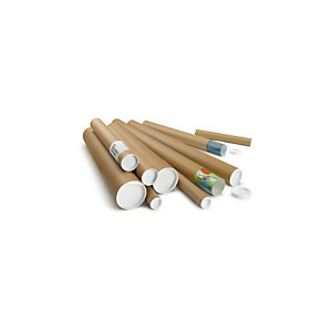 RAJA Tubo per spedizioni postali in cartone con tappi in plastica, Ø 6 x 64 cm, Avana (confezione 25 pezzi)